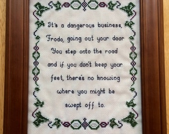 PATTERN Hobbit Lord of the Rings Cross Stitch Bilbo Baggins Frodo quote LOTR Instant Download .PDF Pattern