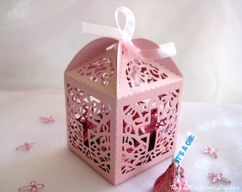 30 pcs Holy Cross Pink Pearled Party Favor Boxes for Christening Favors, Baptism Favor, First Communion Favors