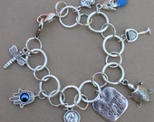 Charms bracelet - turtle, yoga, mermaid, wine