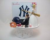 BASEBALL YANKEES or your team Bride and Groom Funny Wedding Cake Topper New York