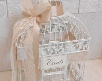 Large Ivory and Lace Wedding Card Box / Wedding Birdcage / Wedding Card Holder / Birdcage Card Holder / Ivory Wedding / Beach Wedding
