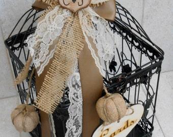 LAST ONE SALE / Ready to Ship / Large Burlap Fall Pumpkin Wedding Card Holder Birdcage / Wedding Card Box / Fall Wedding Decor / Burlap