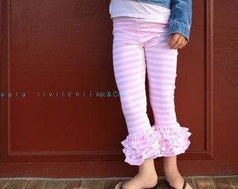Clearance:  Ready to ship light pink stripe triple ruffle capris size 12 months