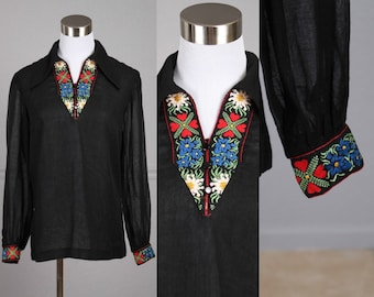 60s Blouse, Semi Sheer, Wing Collar, Black, Red, Blue, Yellow, White, Floral, Ethnic, Boho, Hippie, Shirt, Top M