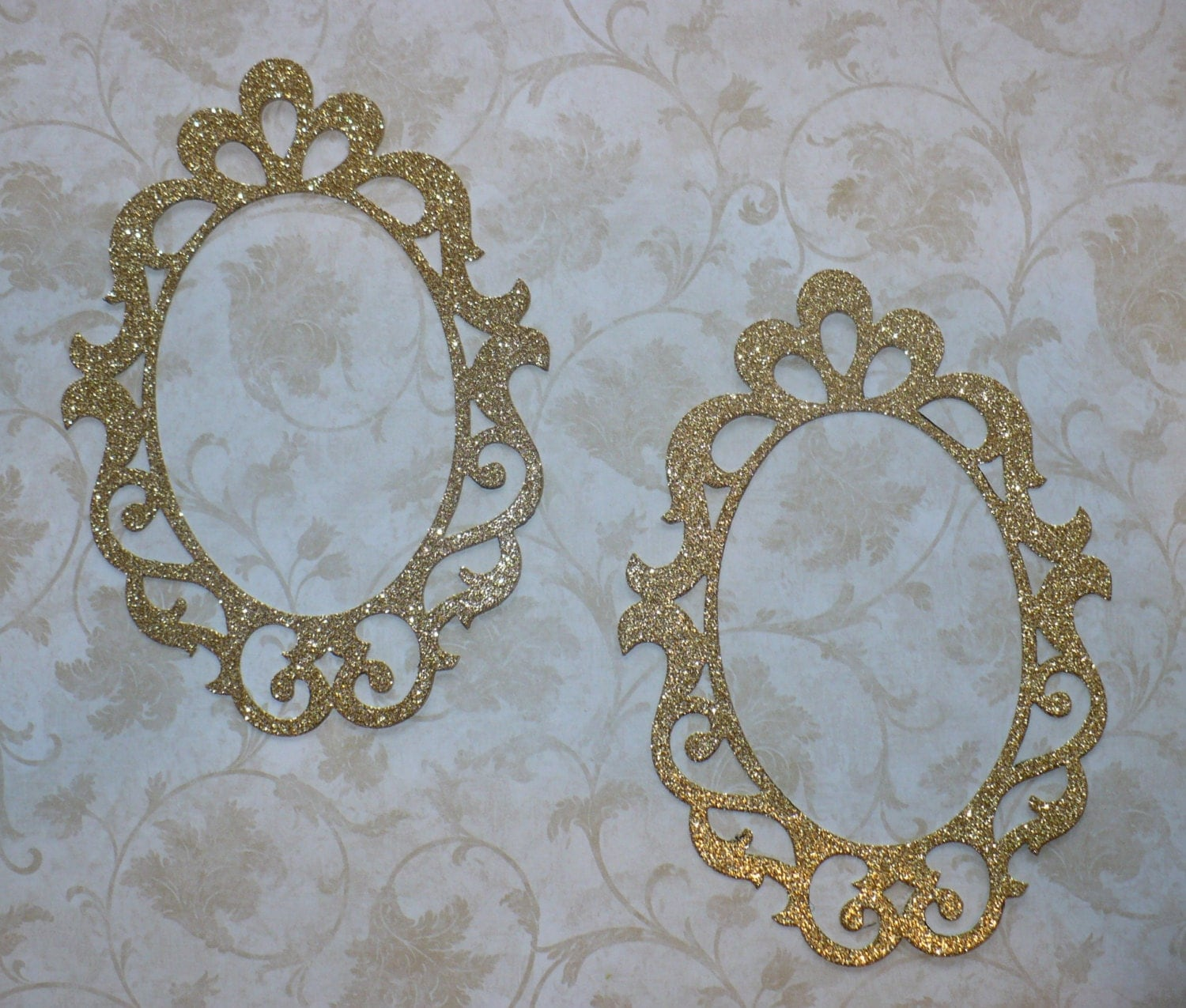 sizzix oval fancy shape frames 2 pc gold glitter cardstock frames for diy princess party crafts scrapbooking baby girl party