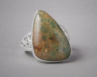 Jasper Ring Sterling Silver US 10.25 - gemstone ring