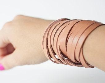 Leather Bracelet / Original Sliced Wrap Cuff / Canyon Peach