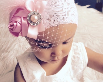 Gorgeous Luxe Vintage Inspired white lace Headband-BabyGirl satin rosette lace headband.