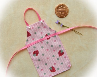 Miniature apron for dollhouse, Strawberries on Pink Gingham 1:12 scale