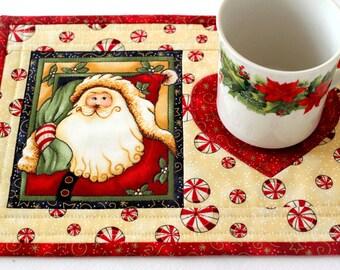 Christmas Mug Rug, Quilted Cream Mug Rug, Santa Mug Rug, Snack Mat, Red Peppermint Mug Rug, Quiltsy Handmade