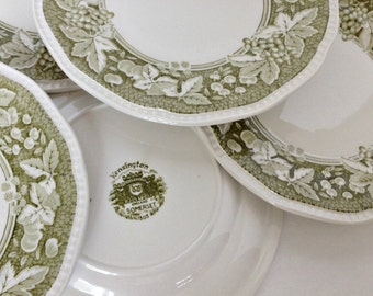 Bread and Butter Plates Kensington Staffordshire Somerset Green Vintage Dessert Plates