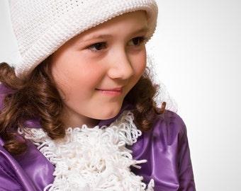 Crochet hat with fields LIGA for girls Crochet hat White hat Hat for girl Crochet lace by GLOVA HOME Gift for girl