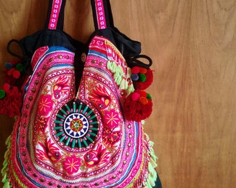 Tribal Fringe Tote Bag with chunky pom pom /// Large ///  Gypsy // embroidery // tribal // colorful // ethnic // hippie