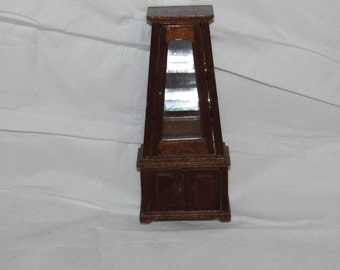 VINTAGE Doll House MINIATURE Beautiful Wood Mid Century Unique Curio Cabinet