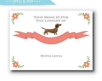 Dachshund Story Book Stock the Library Book Plate Sticker Label - INSTANT DOWNLOAD