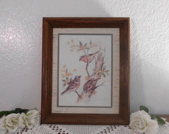 Vintage Bird Print Paul Whitney Hunter Autographed Signed Wood Frame Sparrows on Tree Branches Country Farmhouse Cottage Home Decor Gift Her