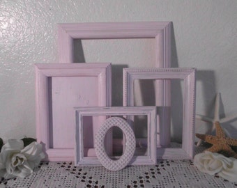 Light Pink Purple Shabby Chic Picture Frame Set Up Cycled Vintage Photo Collection Romantic Cottage French Country Paris Nursery Home Decor