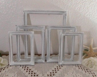 White Shabby Chic Frame Set Rustic Distressed Wood Collection Beach Cottage French Country Farmhouse Home Decor Wedding Reception Decoration