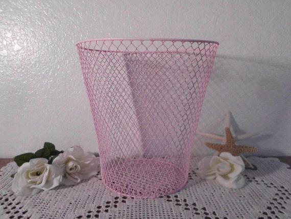 Pink waste paper basket wire shabby chic distressed paris - Shabby chic wastebasket ...