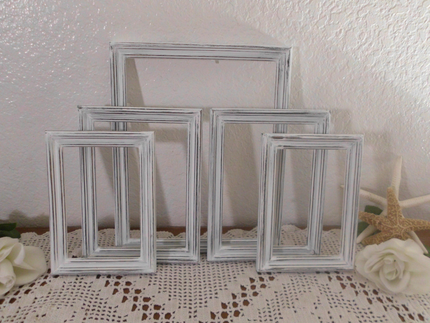 White Shabby Chic Frame Set Rustic Distressed Wood Collection
