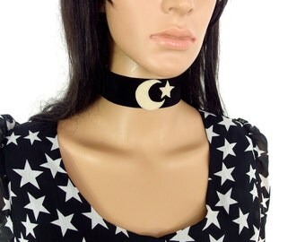 HUZZAR DESIGN Moon And Star Suede Choker Made to Order