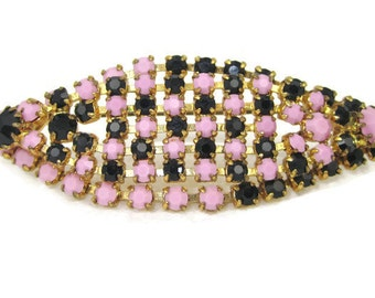 Vintage Signed Austria Pink and Black Rhinestone Geometric Brooch Pin