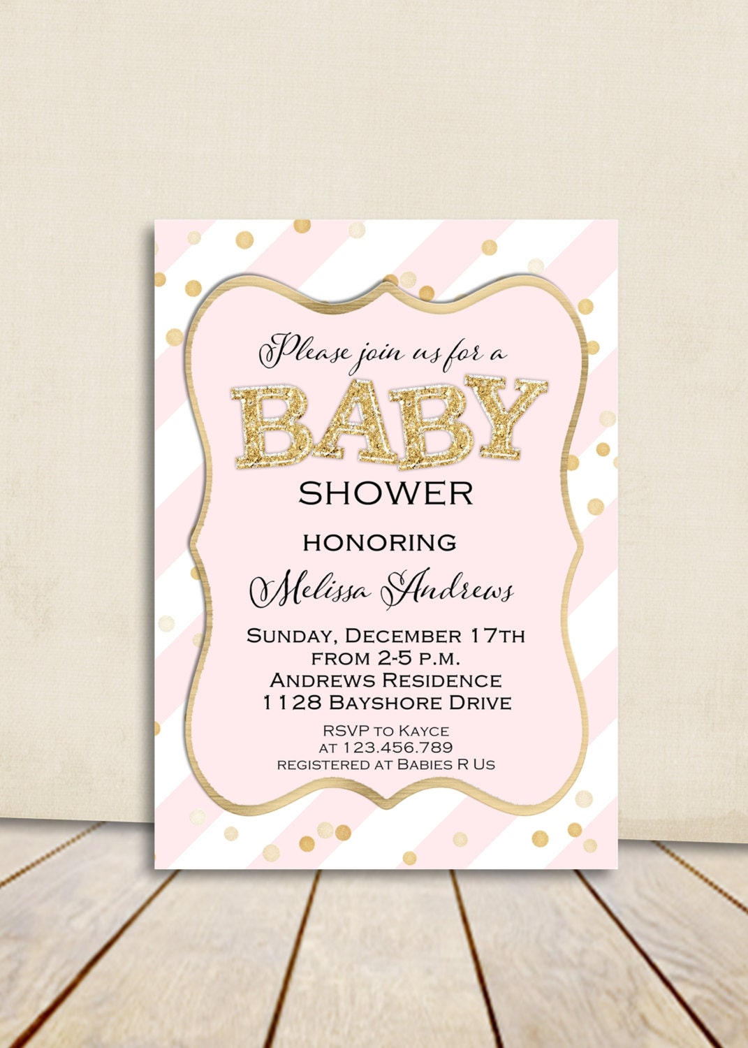 blush pink and gold glitter baby shower invitation by 3peasprints