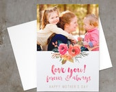 Mother's Day Photo Card with Watercolor Flowers -- Customizable Template, Instant Download