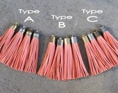 2 Peach Coral Leather TASSELs in 10mm Cap -4 colors Plated Cap- Pick cap type and cap color