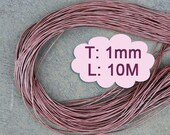 10 Meter (1000cm, 10.93 Yard, 393.70 inch or 32.8Ft) X 1mm Thick - Metallic Light Pink Round Leather-M168 (Lead-free: SGS testing)
