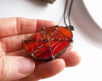 Stained glass pendant, red necklace, birthday gift, copper wire jewelry, artistic, red stained glass, funky jewelry, Spider web