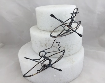 Bride and Groom in Simplified Kayaks Wedding Cake Toppers, 6.5 inches