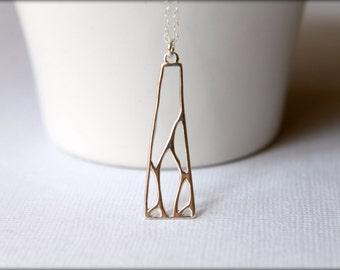 Openwork Modern Geometric Necklace in Sterling Silver