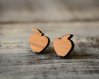 Apple Studs, Laser Cut Wood Earrings