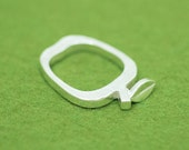 Apple silver ring - kawaii Japanese fruit - Apple outline ring - Apple stem and leaf