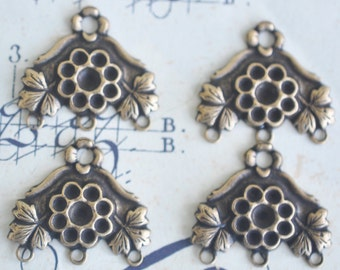 Brass Earring Components with three bottom hoops, FOUR, brass ox