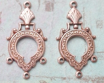 One pair of Neo Victorian earring dangles with three hoops, Rose Ox