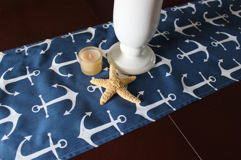 Anchor Table Runner Table Cloth Nautical Table Runner Navy