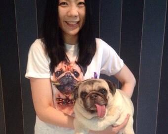 SALE Pug & Flowers T-Shirt