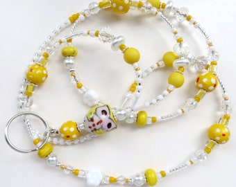 CHEERFUL YELLOW OWL- Beaded Id Lanyard- Porcelain Owl, Czech Pressed Glass, Wood, Turquoise, Pearls, & Crystals (Comfort Created)