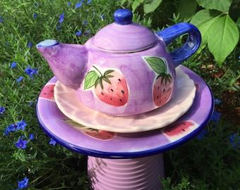Garden Whimsey, Teapot Totem, Pink and Purple Garden Totem, Tea Pot Totem, Bird Feeder, Yard Art