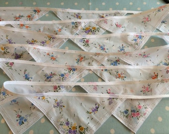 20 ft hanky bunting,banner,hankercheif,perfect for weddings,engagements baby showers,parties and photo