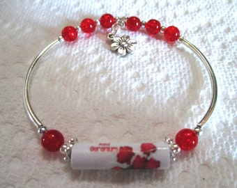 Paper Bead Bracelet - Geraniums - paper jewelry