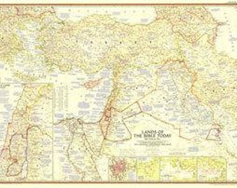 "1956 Map Lands of the Bible Today 41"" x 29"""