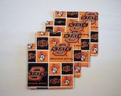 OSU Oklahoma State University Coasters Set of Four/Reversable