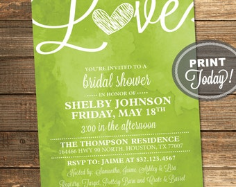 Watercolor Bridal Shower Invitation, Love, Art, Green, Apple Green, Retro, Printable File (Custom Order, INSTANT PROOF)