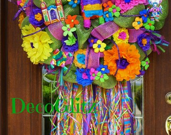 Deco Mesh GREEN FIESTA WREATH