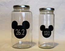 Disney race coin bank - jar bank, money bank, personalized glass bank, running, runner gift, half marathon, marathon