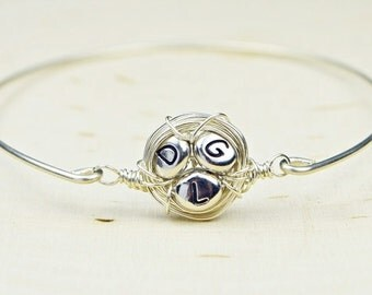Family Nest Initials Personalized Bracelet-  Sterling Silver Filled Wire Wrapped Bangle Bracelet- Custom Made to Size