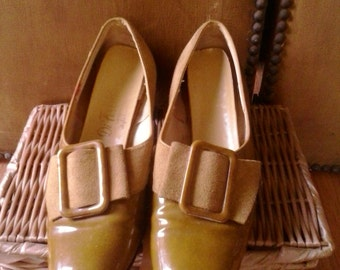 60s patent and suede Italian buckle shoes